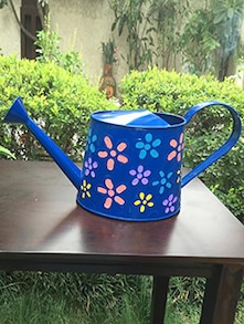Flower Painted Blue Metal Watering Can