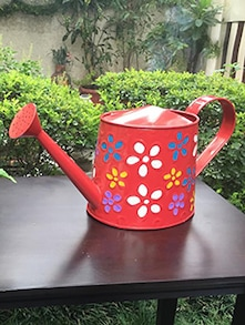 Flower Painted Red Metal Watering Can