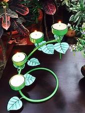 Green Metal Leaf Vine Candle Holder - By