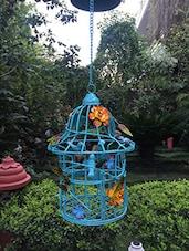Sky Blue Metal Hanging Bird Cage - Gradina Dekor