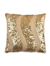 Beige Net Sequined Cushion Cover - By