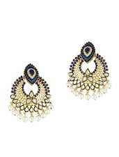 Blue And White Stone Studded Chandbali Earrings - ZAVERI PEARLS