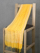 Yellow Booti Print Cotton And Art Silk Dupatta - Prabha Creations