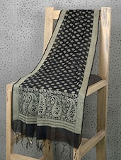Black Booti Print Cotton And Art Silk Dupatta - Prabha Creations
