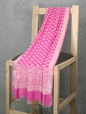 Pink Booti Print Cotton And Art Silk Dupatta - Prabha Creations