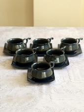 Black Ceramic Studio Cup Saucer Set - Unravel India