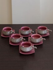Multi-coloured Ceramic Matt Cup Saucer Set - By