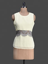 Round Neck Sleeveless Lace Touch White Top - Bumpkin