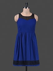 Sleeveless Round Neck Laced Border Solid Blue Color Dress - Bumpkin