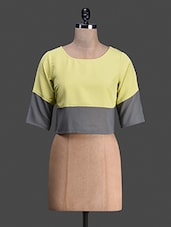 Quarter Sleeve Round Neck Block Color Crop Top - Bumpkin