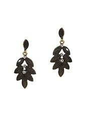 Black Metallic And Precious Stones Antique Drop Earrings - Golden Petals