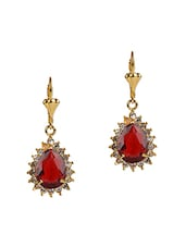 Gold And Red Metallic And Precious Stones Drop Earrings - Golden Petals
