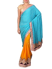 Blue Embroidered Jacquard Georgette Saree - Kabira Fashion