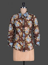 Floral Print Long Sleeves Chiffon Shirt - S9 WOMEN