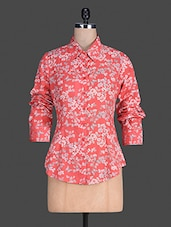Floral Print Long Sleeves Poly Cotton Shirt - By