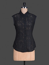 Sleeveless Black Lace Shirt - S9 WOMEN