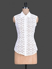 White Sleeveless Floral Lace Shirt - S9 WOMEN