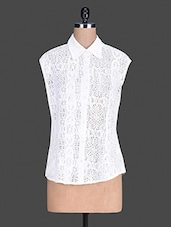 Geometric Pattern White Lace Shirt - By