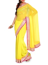 Yellow Chiffon Saree With Embroidered Blouse Piece - Moiaa