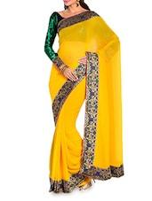 Yellow Chiffon Saree With Velvet Blouse Piece - Moiaa