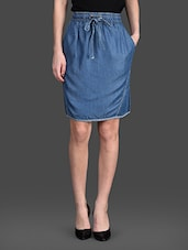 Knee Length Elastic Waist Skirts - SMART DENIM