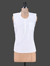 Sleeveless Polka Dot Mandarin Collar Top - SMART DENIM