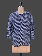 Polka Dot Print Long Sleeve Top - SMART DENIM