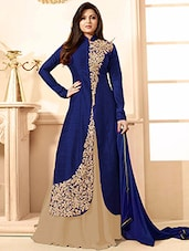 blue silk semi stitched skirt suit set -  online shopping for Semi-Stitched Suits