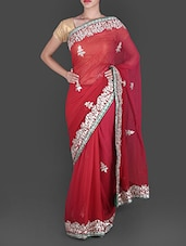 Red Georgette Saree With Gota Patti Work - By