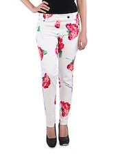 White Floral Printed Cotton Pants - By