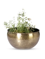 Textured U-shape Brass Planter - Magnolia Kreations