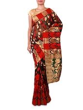 Red And Black Floral Cotton Silk Saree - INDI WARDROBE