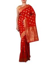Red Jacquard Cotton Silk Saree - By
