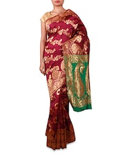 Dark Pink Paisley Patterned Cotton Silk Saree - By
