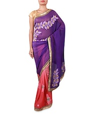 Purple And Pink Embroidered Georgette Saree - By