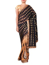 Beige And Navy Blue Embroidered Georgette Saree - INDI WARDROBE