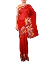 Red Cotton Silk Saree With Striped Border - INDI WARDROBE