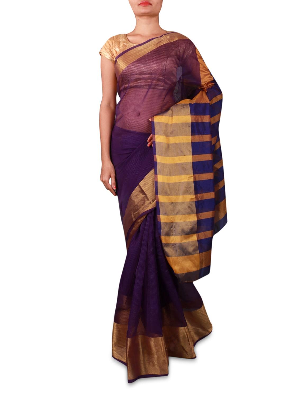 Purple Cotton Silk Saree With Striped Aanchal - INDI WARDROBE