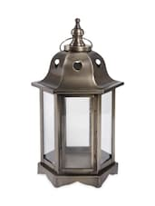 Gold Metal And Glass Lantern - Grezniba Dekor