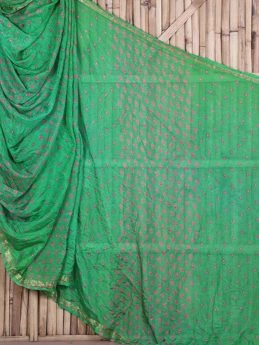 Printed Green Bandhej Art Silk Saree - By