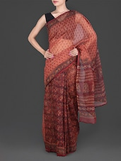 Coral Hand Block Printed Cotton Kota Saree - Maandna