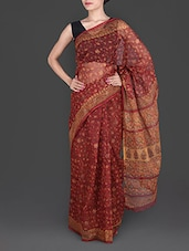 Maroon Hand Block Printed Cotton Kota Saree - Maandna
