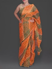 Green And Orange Bandhej Printed Cotton Kota Saree - Maandna