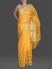 Yellow Poly Silk Kota Saree With  Zari Stripes - Maandna