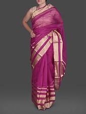 Fuchsia Poly Silk Kota Saree With  Zari Stripes - Maandna