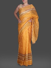 Yellow Jacquard Shimmer Poly Silk Kota Saree - By