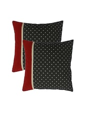 Blueberry Home Black Color Cotton Fabric Cushion Covers Set Of 02 (40X40 Cms) - By