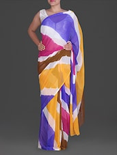 Colour  Block Leheriya Print Chiffon Saree - By