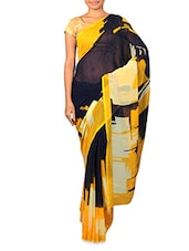 Navy Blue Printed Georgette Saree - By