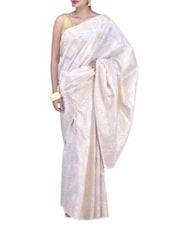 White Art Silk Saree Brocade Saree - By